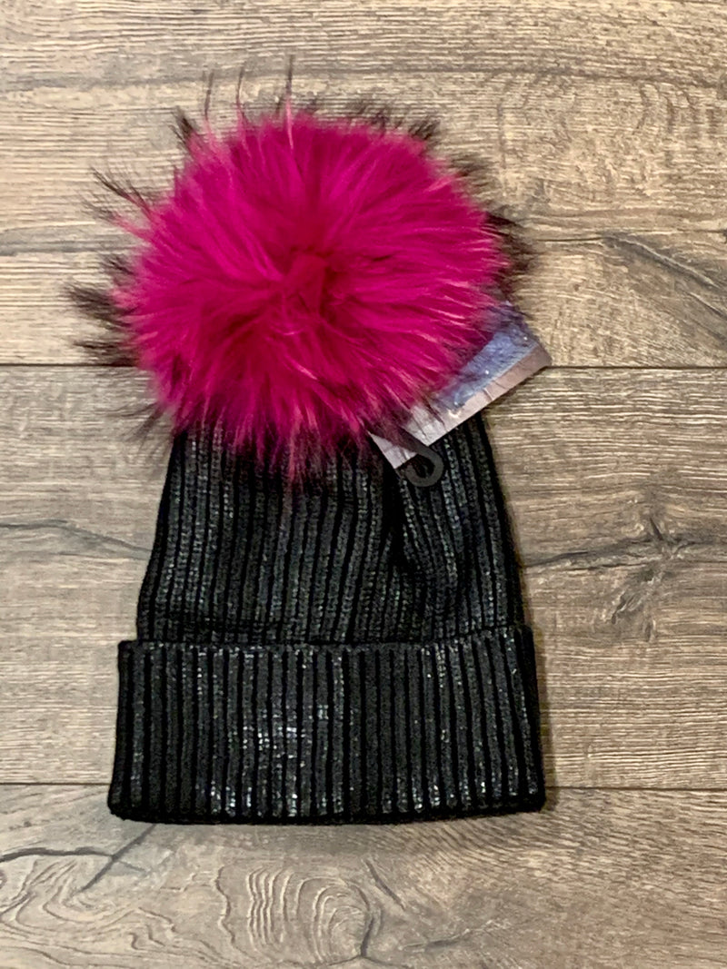 WOMEN'S BLACK METALLIC STAMP HAT WITH HOT PINK POM