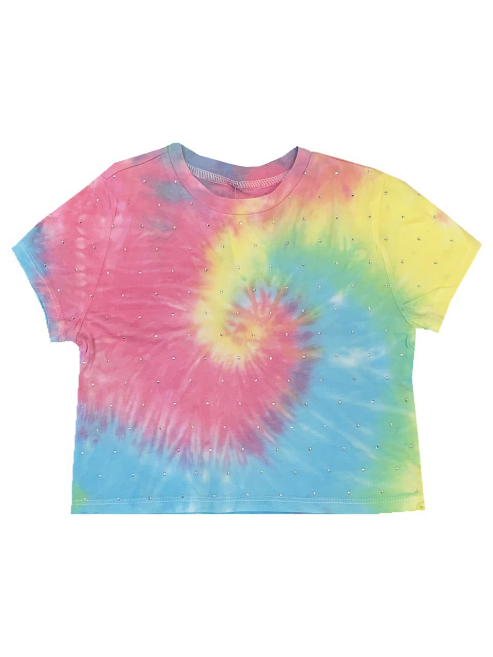 KatieJ Super Soft Tie Dye T-Shirt with Stones