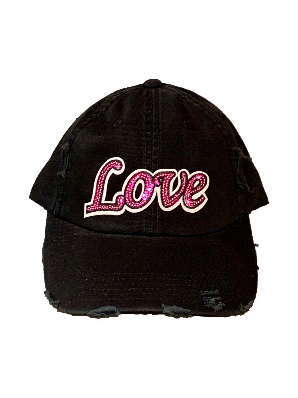 Black Love Distressed Hat