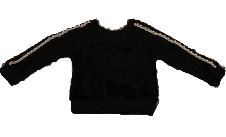 Little Mass Black Shaggy Sweater with Pearl Taping On Sleeve