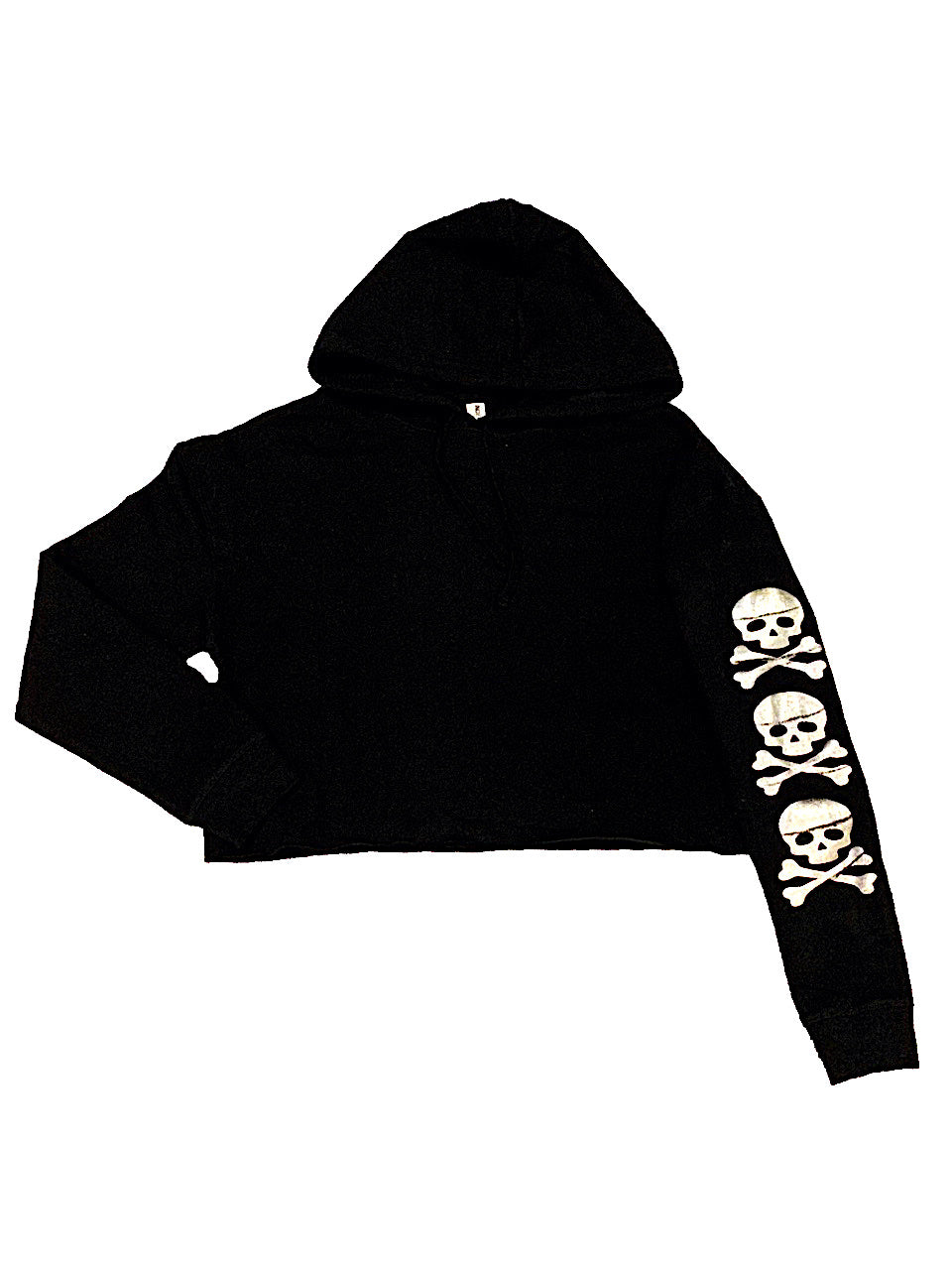 WOMEN'S DISTRESSED SKULLS CROPPED HOODIE