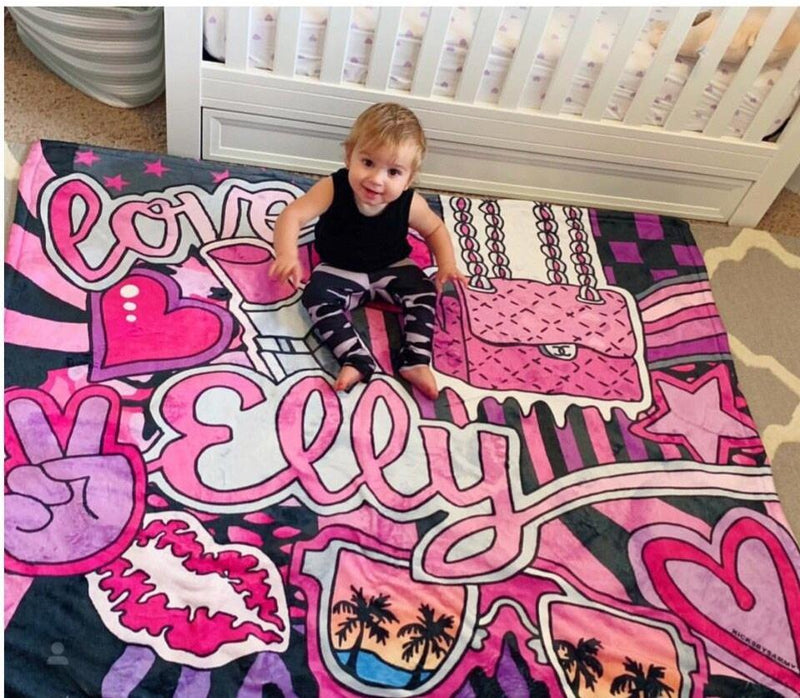 Kicks By Sammy Girlie Girl with Lips Blanket
