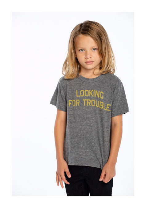 Chaser Boys Grey Looking For Trouble Tee Shirt