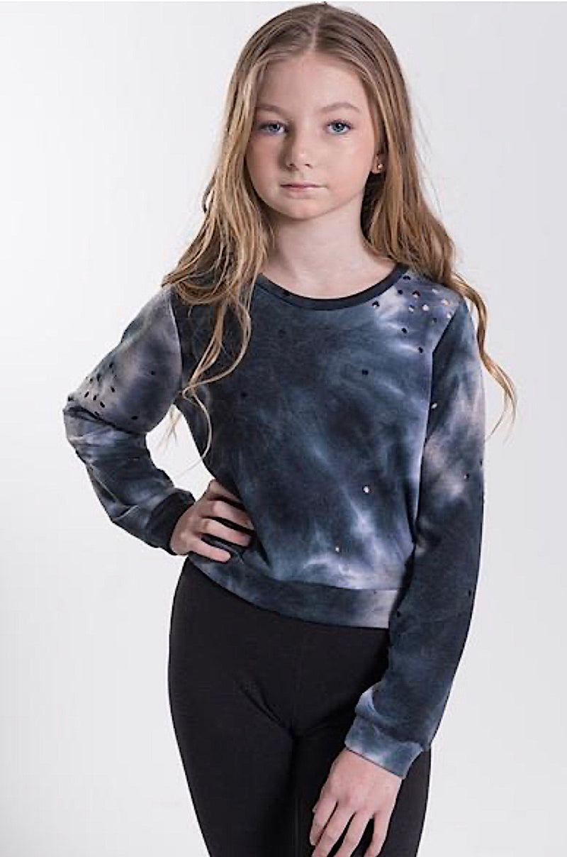 TweenStyle By Stoopher Navy Distressed Tie Dye Crop Sweatshirt