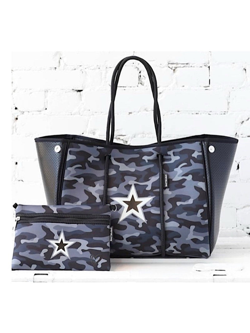 Neoprene Large Tote in Black Camo Star