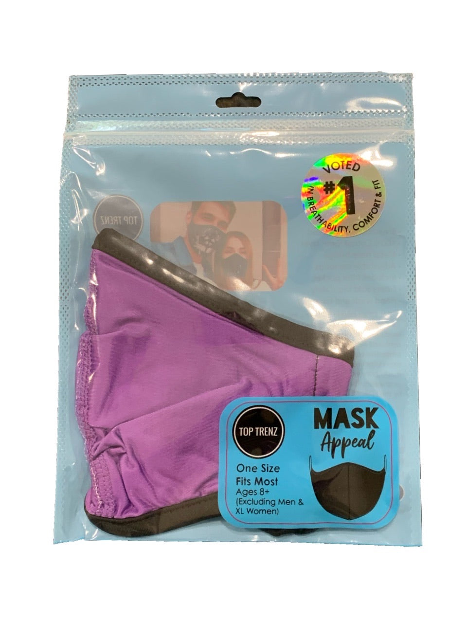 TOP TRENZ SOLID PURPLE MASK - AGES 8+