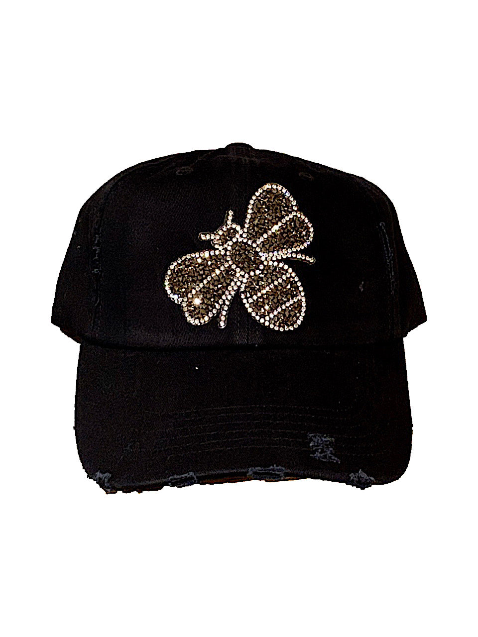 Gunmetal Glitter Bee Distressed Hat