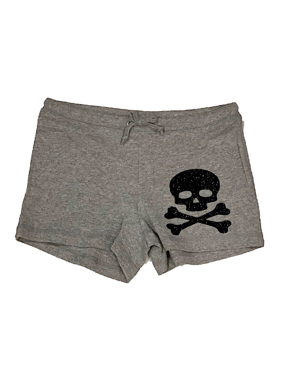 GREY GLITTER SKULL DRAW STRING SHORTS