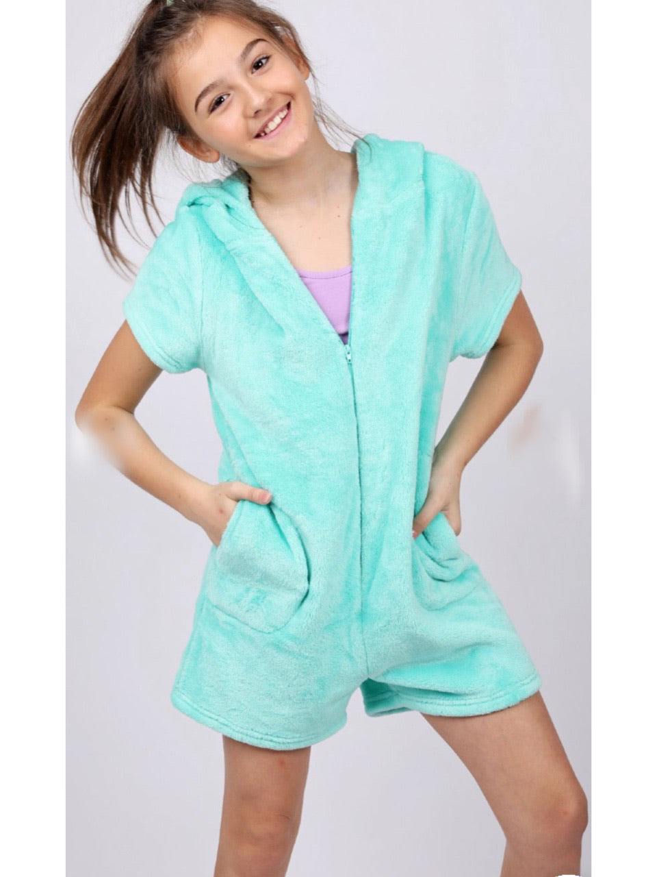 CANDY PINK FLEECE ROMPER - MINT