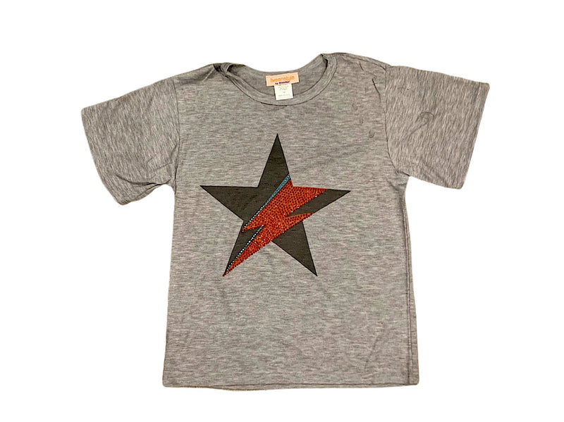 Sparkle By Stoopher Heather Grey Rock Star Short Sleeve Distressed Tee