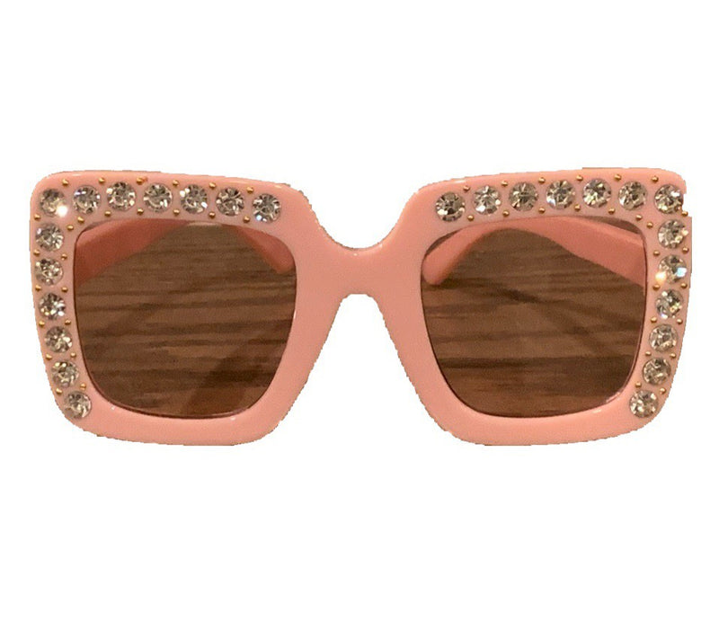 Pink Square Sunglasses With Crystals