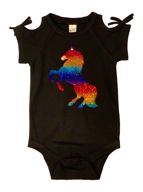 LHB RAINBOW UNICORN COLD SHOULDER ONESIE