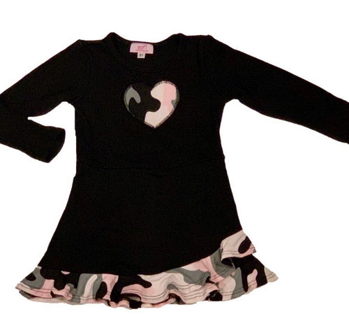 Sofi Black and Pink Camo Dress With Camo Heart