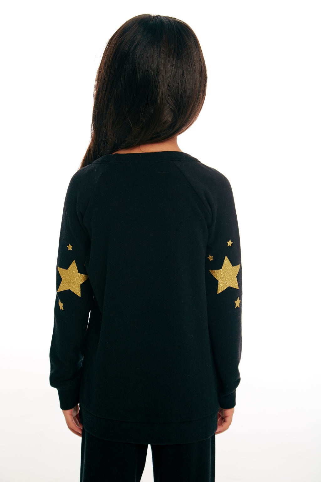 Chaser Girls L/S Black Top With Golden Unicorn
