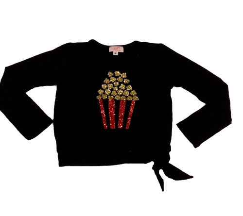SOFI Black Tie Front Shirt With Glitter Popcorn