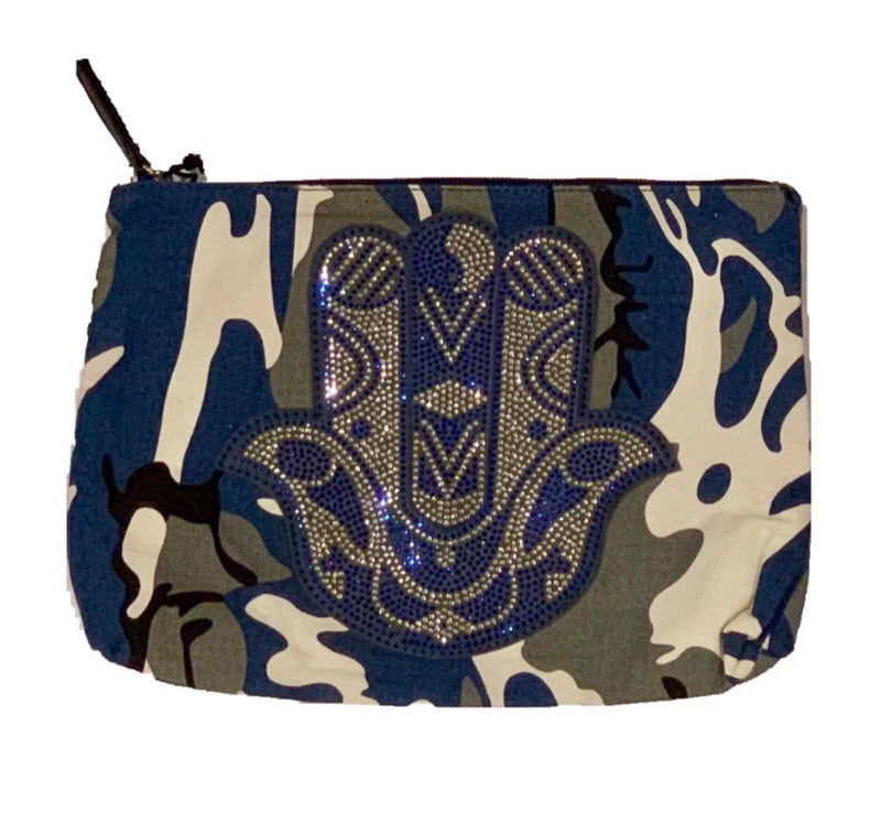 CANVAS CAMO ZIP TOP POUCH WITH CRYSTAL HAMSA