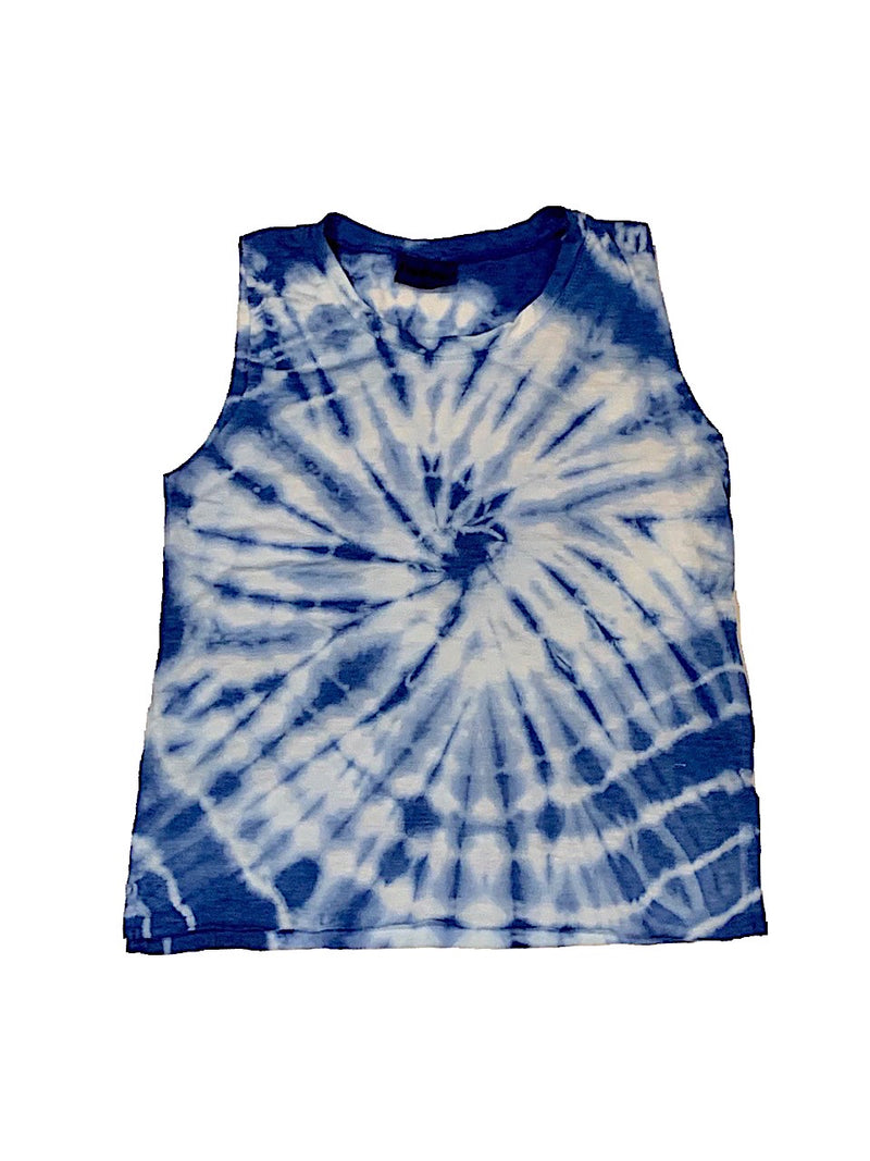 Firehouse Blue and White Crop Tie Dye Tank
