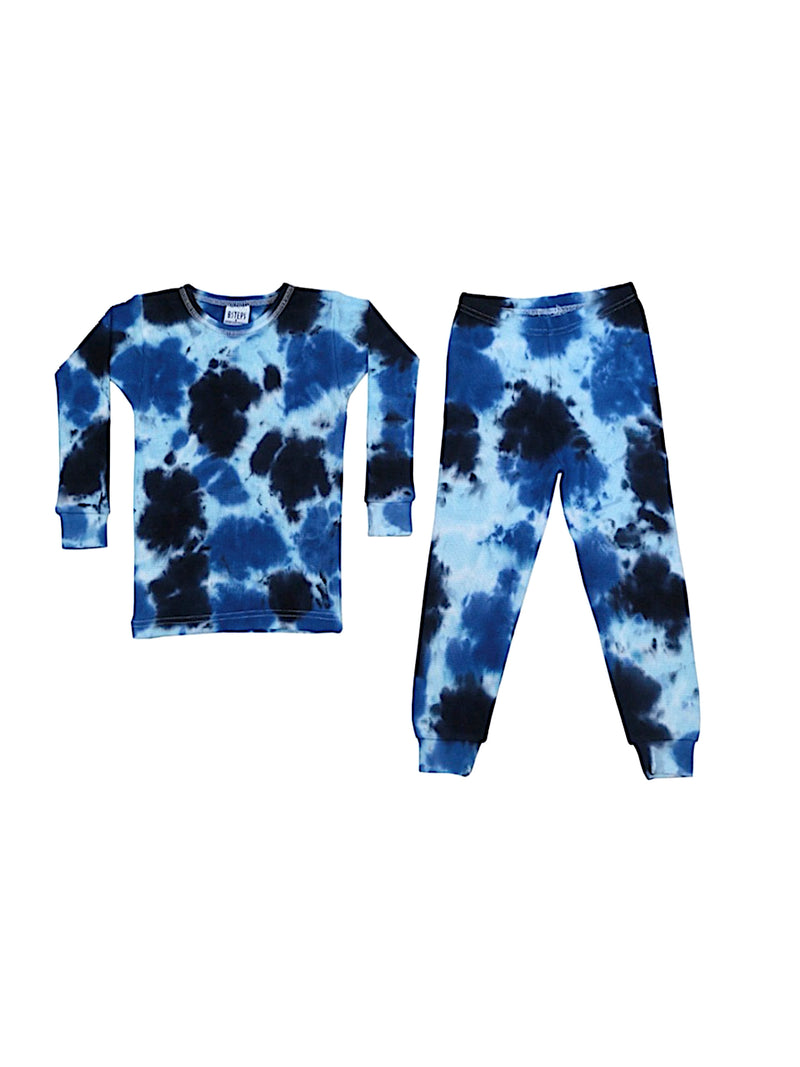 Baby Steps Thermal Navy Blue Tie Dye Pajama Set