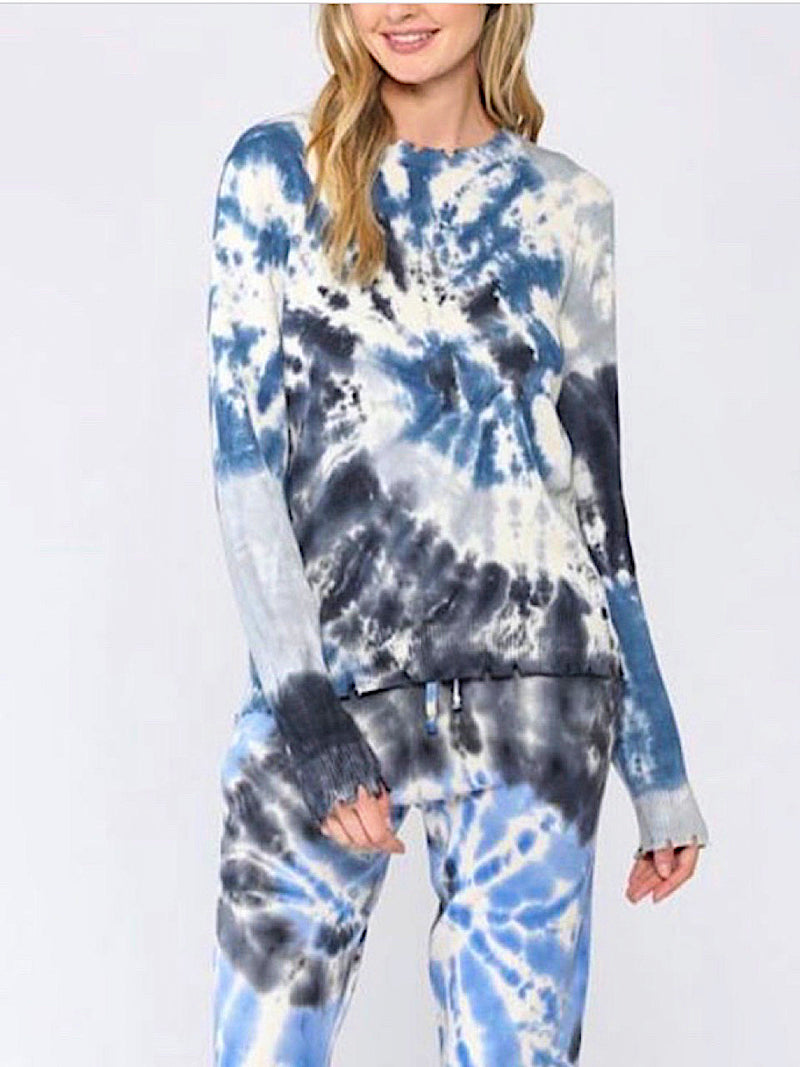 FATE BLUE/MULTI TIE DYE DISTRESSED SWEATER