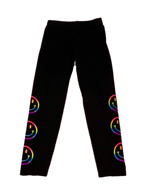 Firehouse Black Leggings With Neon Smiley Faces