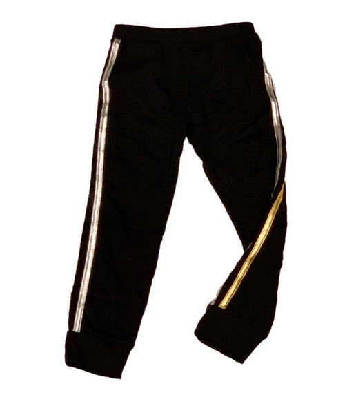SOFI Black Joggers with Silver and Gold Stripes