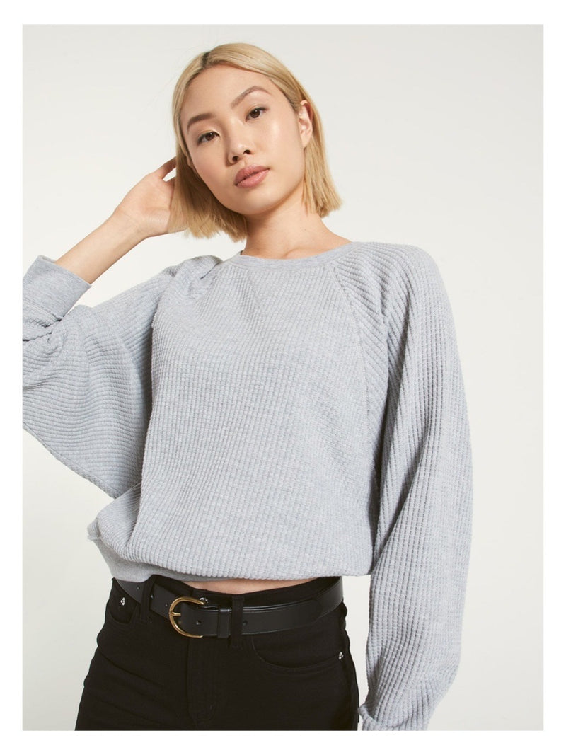 Z Supply Claire Waffle Long Sleeve - Grey