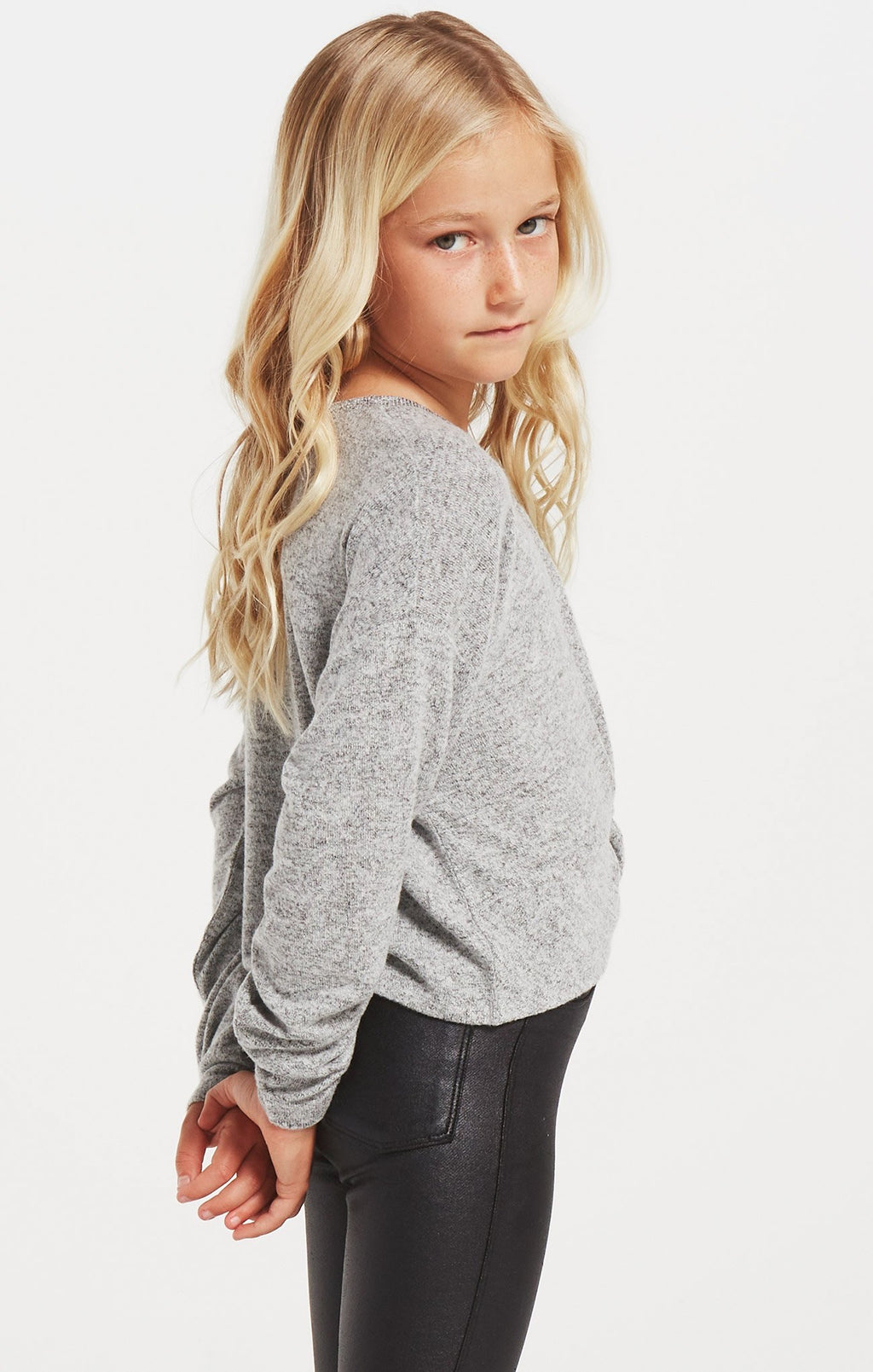 Z SUPPLY GIRLS HARPER MARLED TOP - HEATHER GREY