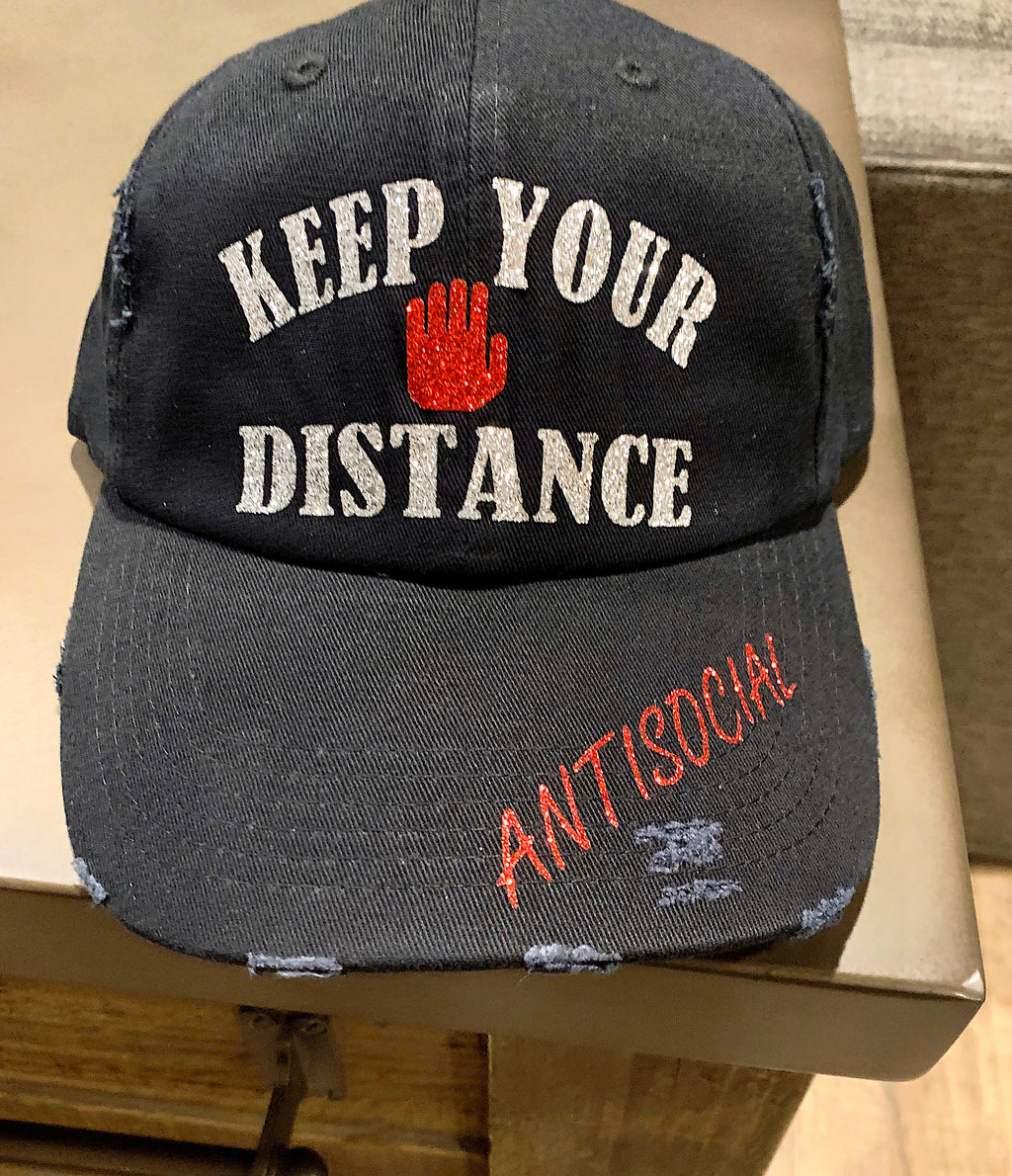 Keep Your Distance Distressed Hat