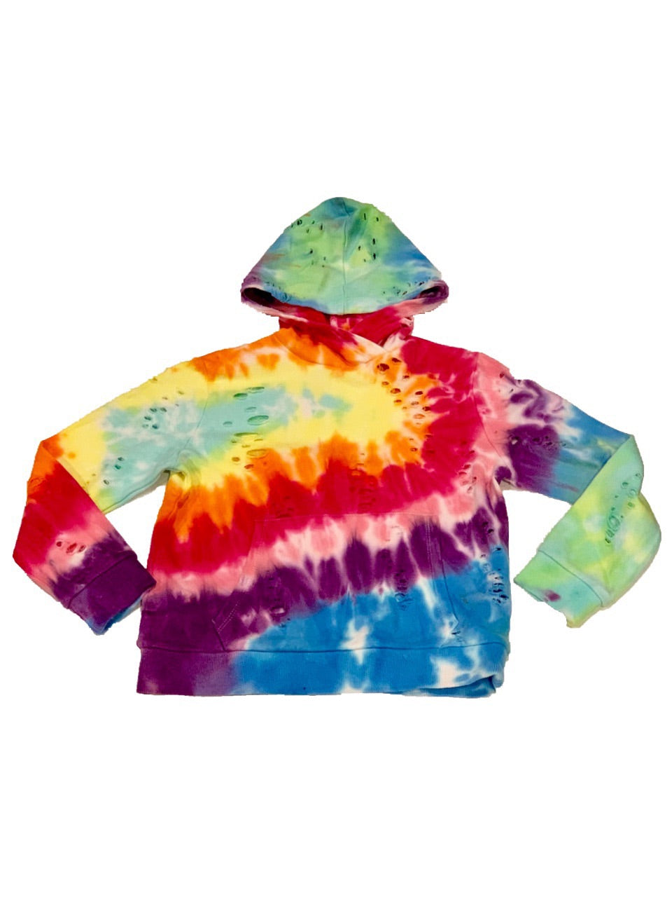 KatieJ Reggie Super Soft Tie Dye Hoodie With Rips