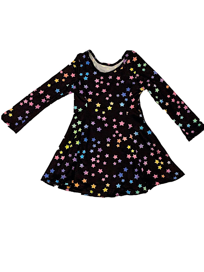 Social Butterfly L/S Fit and Flare Dress With Rainbow Stars
