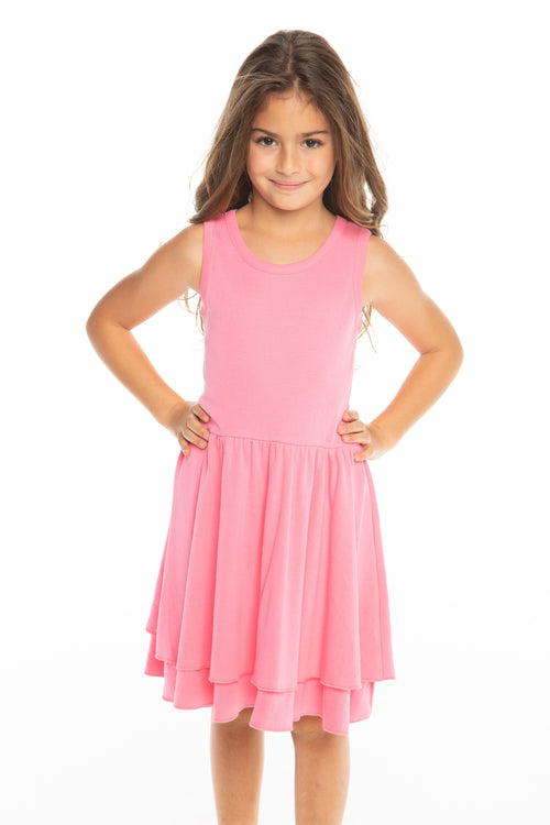 Chaser Girls Rib Tiered Tank Dress