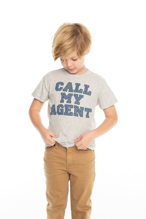 Chaser Boys Heather Grey Short Sleeve Call My Agent Tee