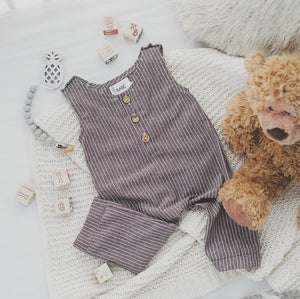 Baby Boy Fall Linen Romper | Dark Grey Striped
