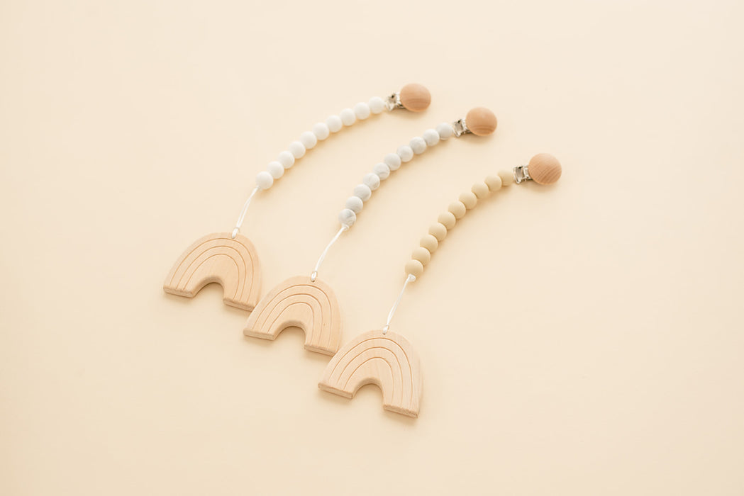 Rainbow Silicone & Maple Wood Teething Pendant - Babe Basics