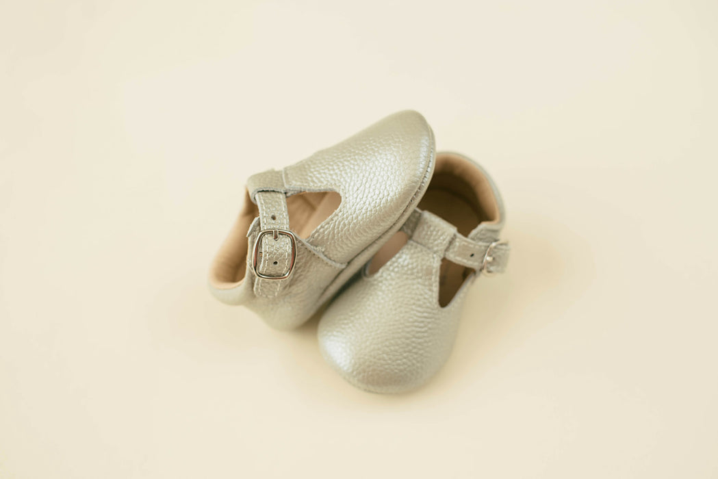 Soft-Sole Leather Mary Jane Moccasins - SILVER
