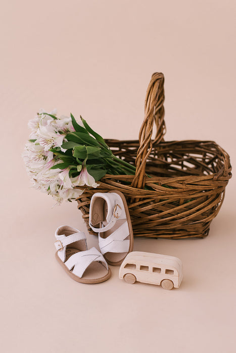 White Leather Sandals - Babe Basics