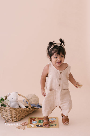 Oatmeal Cropped Linen Baby Romper - Babe Basics