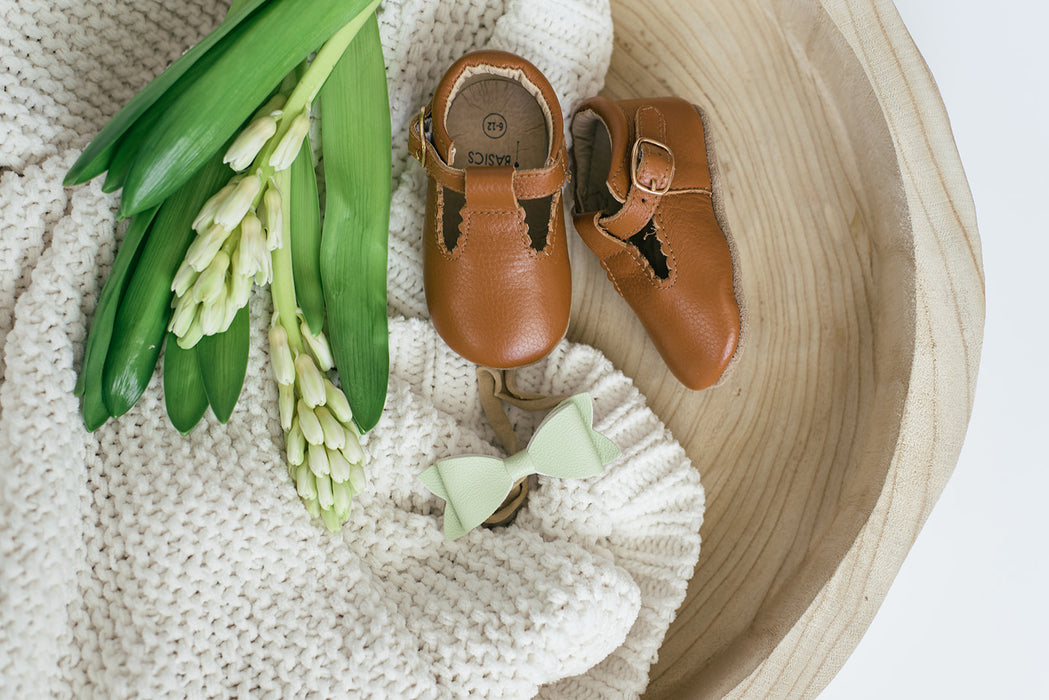 Soft-Sole Leather Mary Jane Moccasins - TAWNY