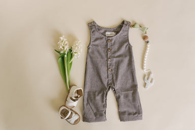 Dark Grey Striped Linen Basic Romper - Babe Basics
