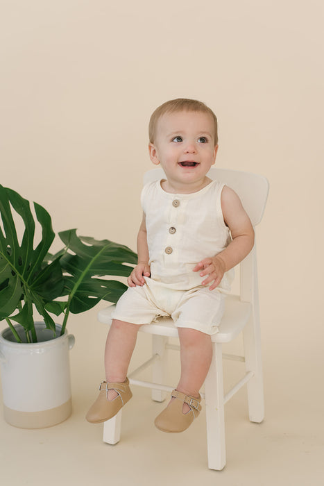 Cream Crop Linen Romper