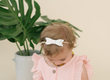 White Genuine Leather Bow Headband