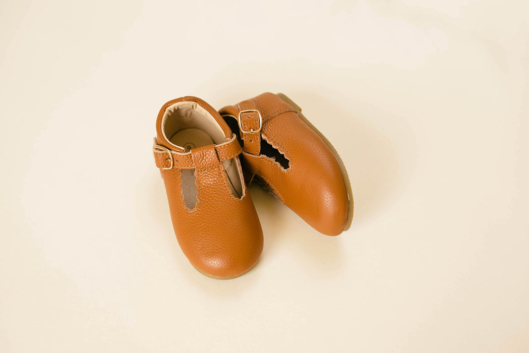 Hard-Sole Leather Mary Jane Moccasins - TAWNY