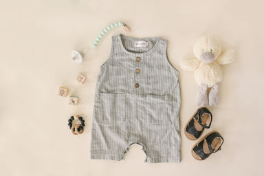 Grey & White Striped Crop Linen Romper
