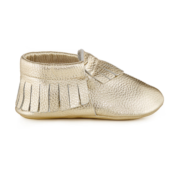 Signature Leather Moccasins - METALLIC GOLD