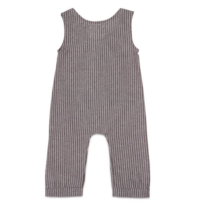 Dark Grey Striped Linen Romper