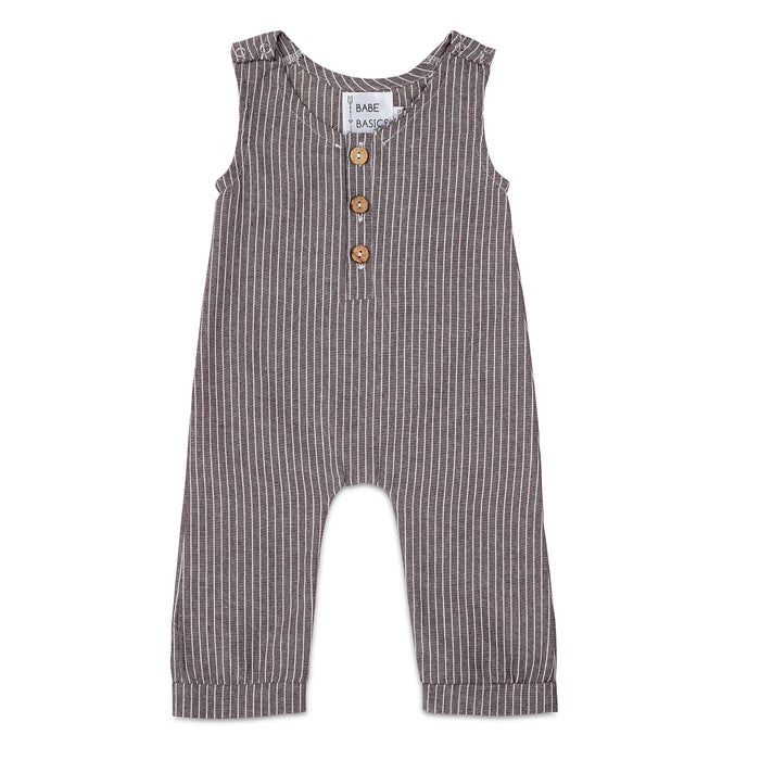 Dark Grey Striped Linen Romper - Babe Basics