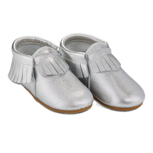 Hard Sole Signature Leather Moccasins -  SILVER