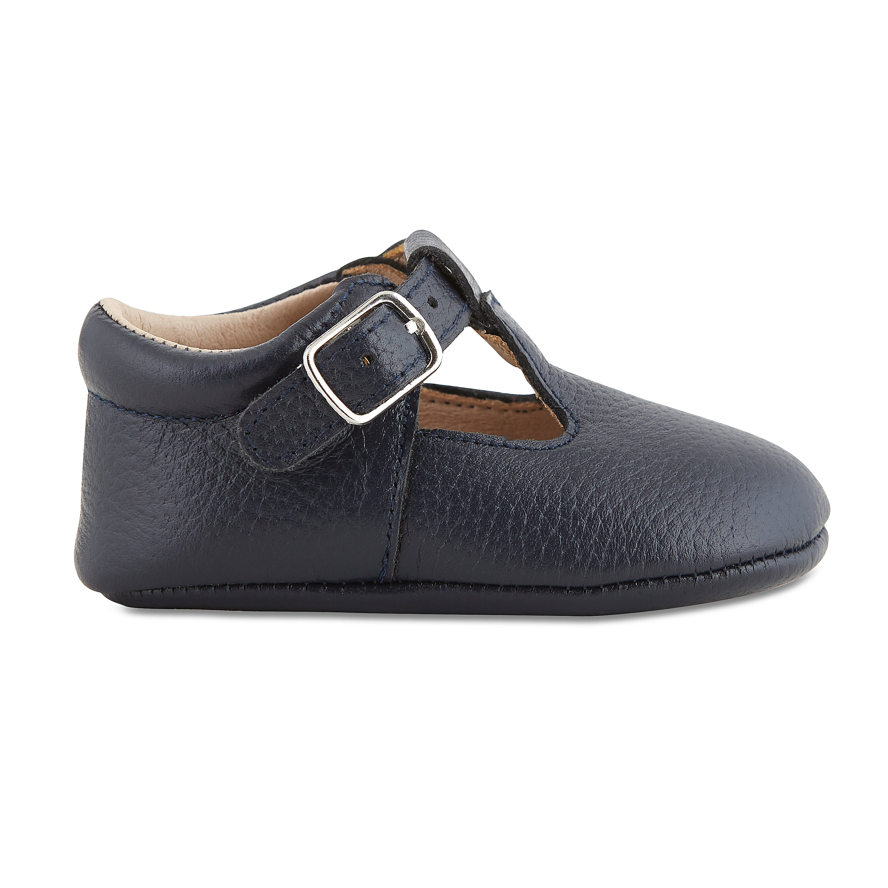 Soft-Sole Leather Mary Jane Moccasins - NAVY