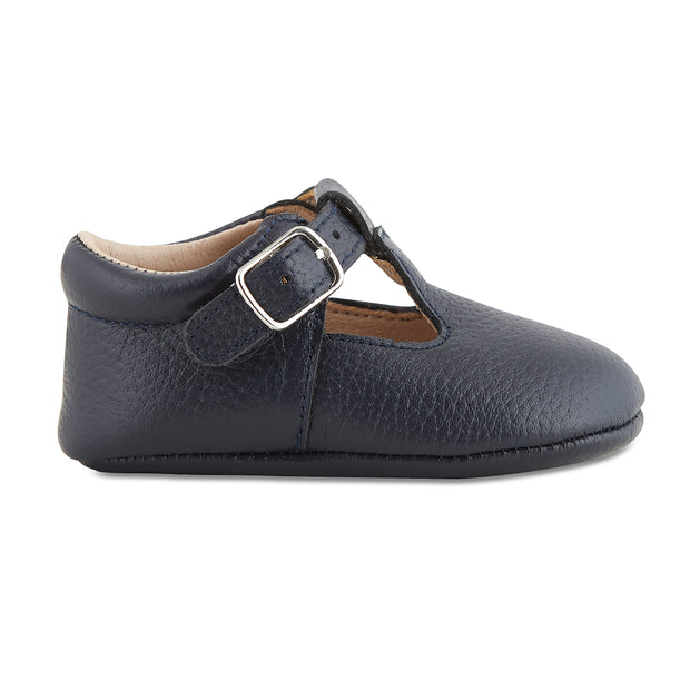 Soft-Sole Leather Mary Jane Moccasins - NAVY 1