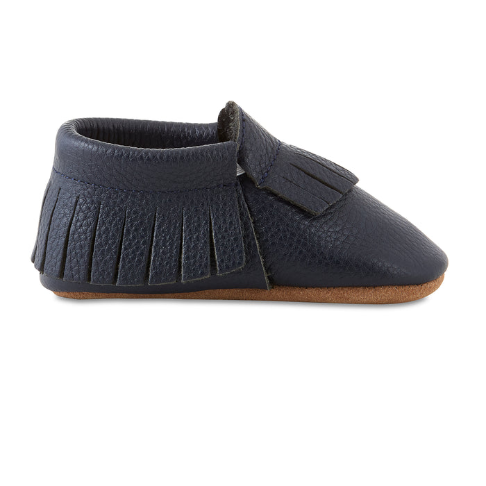 Signature Leather Moccasins -  NAVY